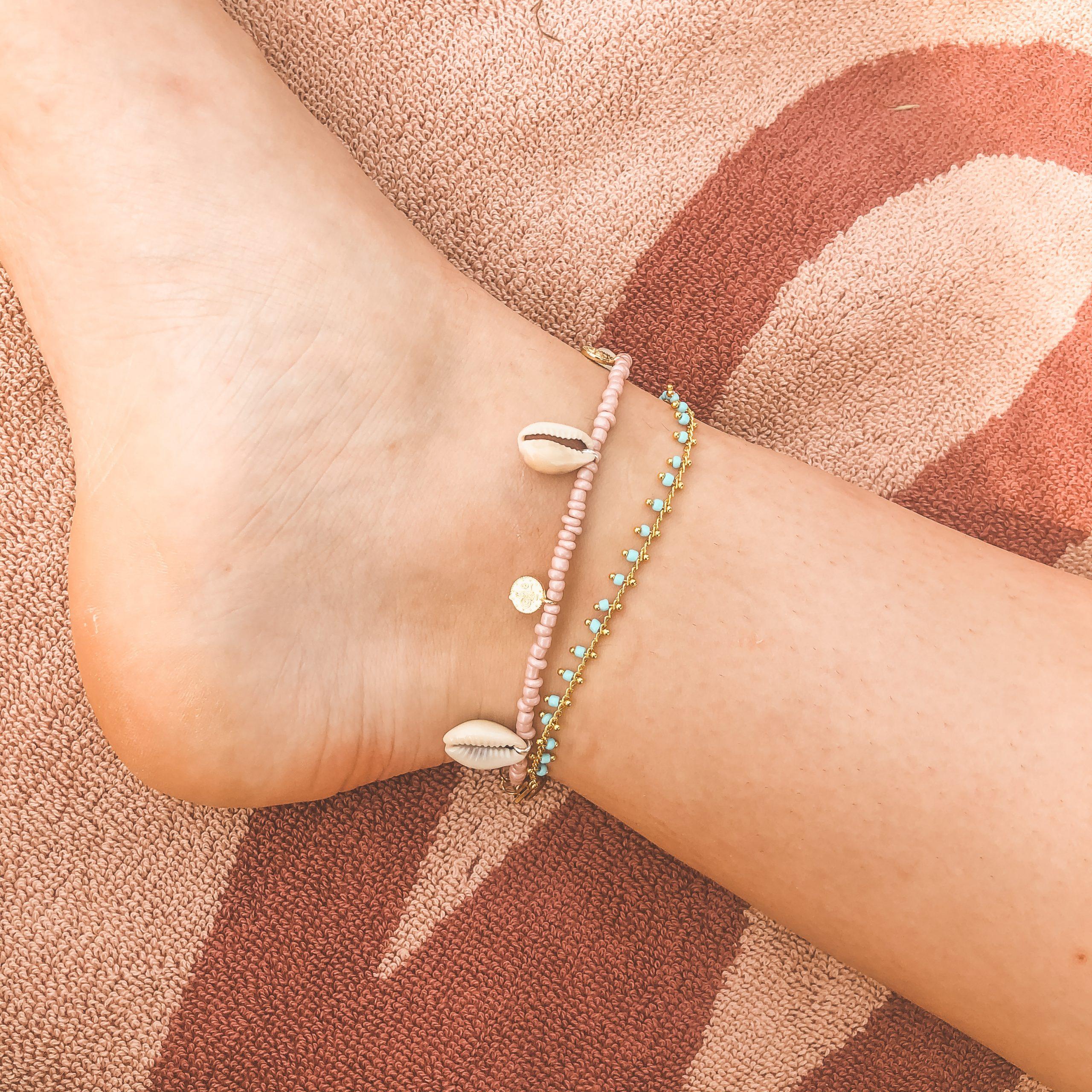 Shells coins anklet pink