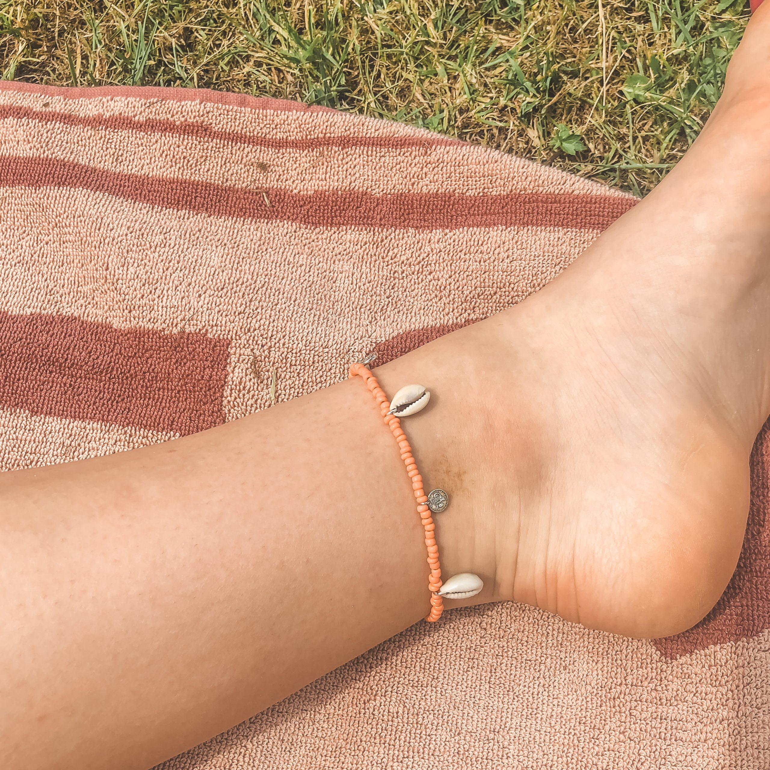 Shells coins anklet coral