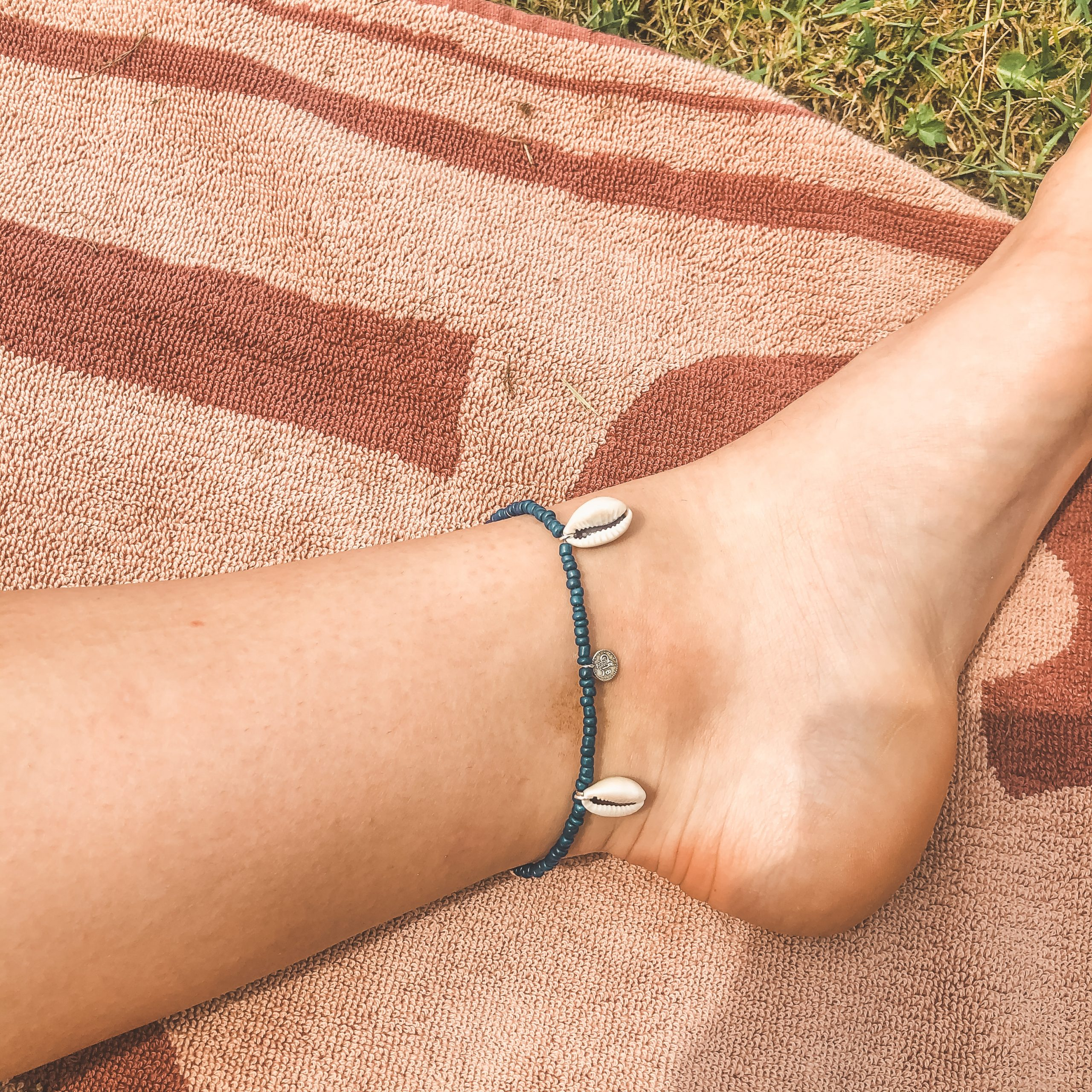 Shells coins anklet navy silver