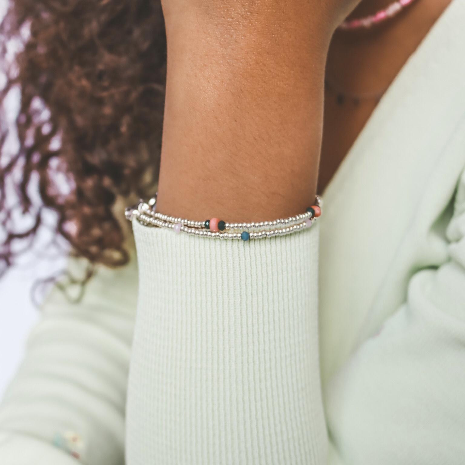 Silver bracelet facet stones