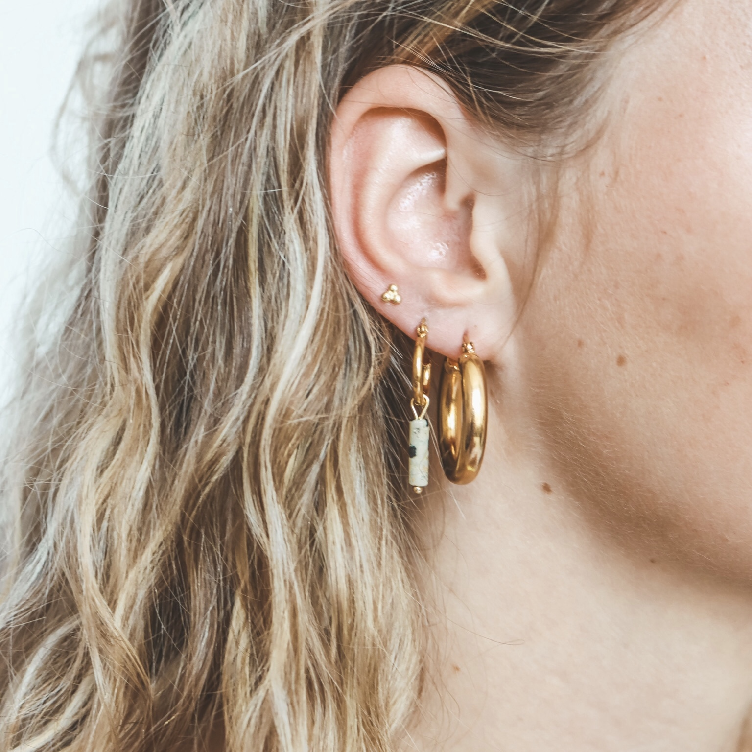 925 gold hoops triple dots