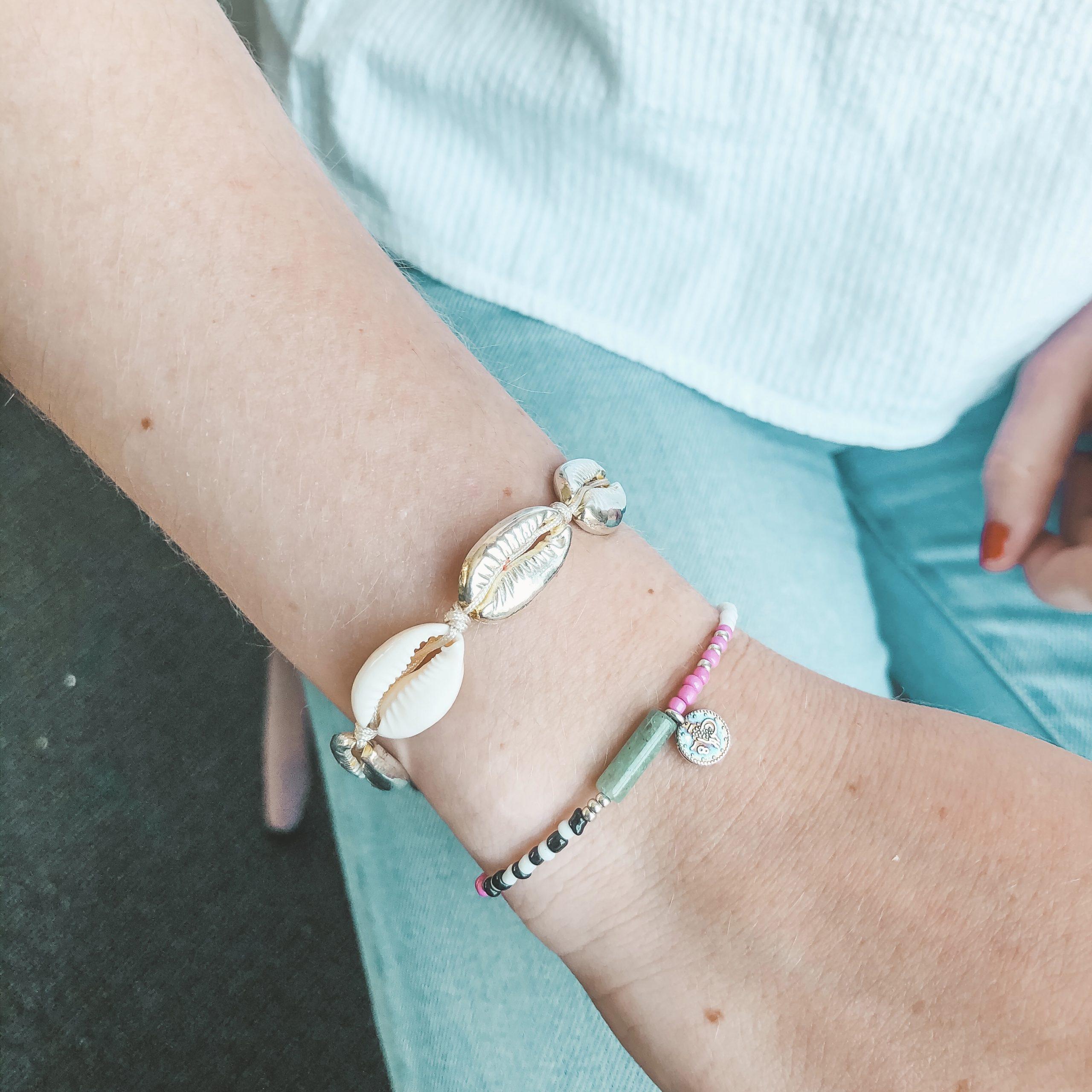 Green stone coin bracelet