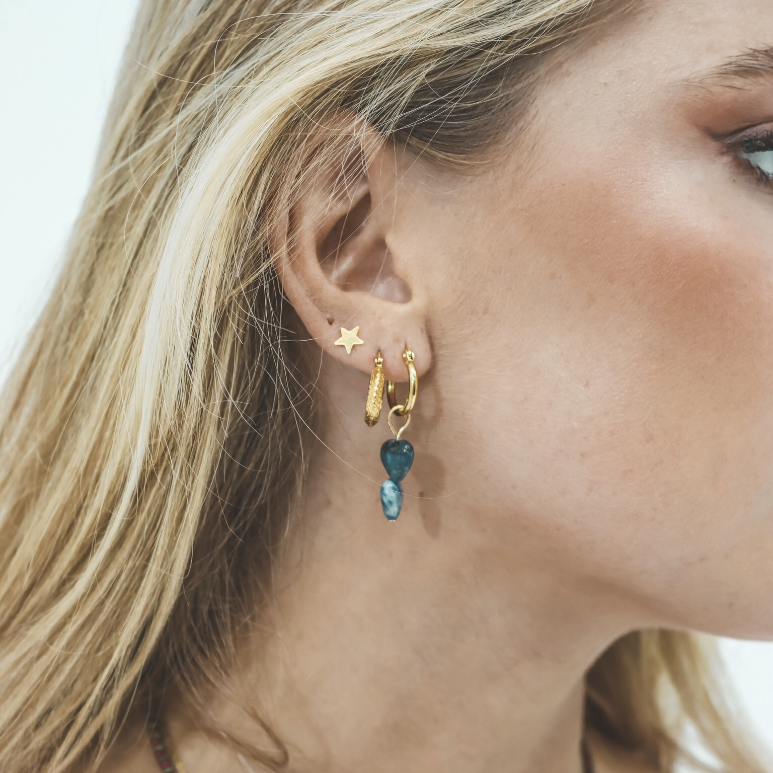 925 gold hoops star