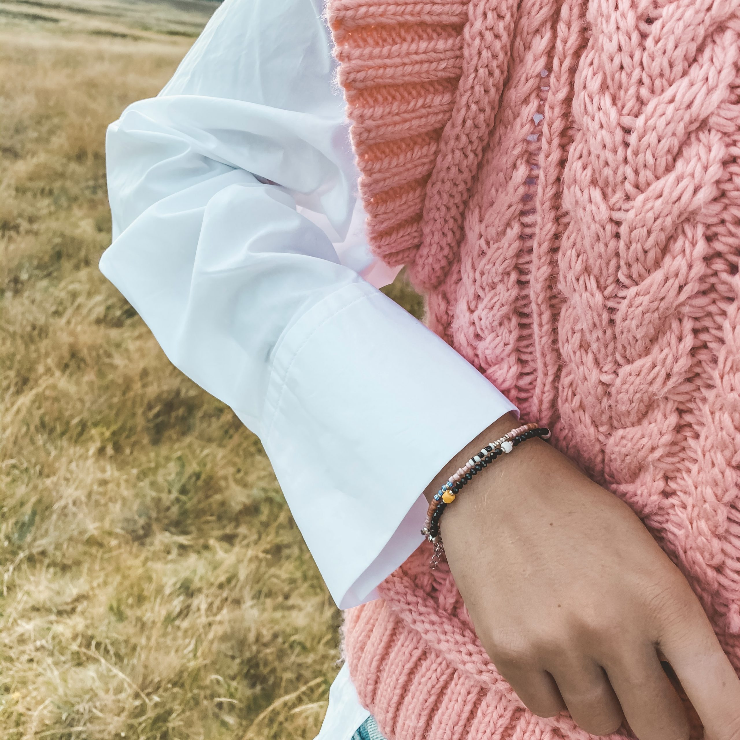 Colourful stripes bracelet silver