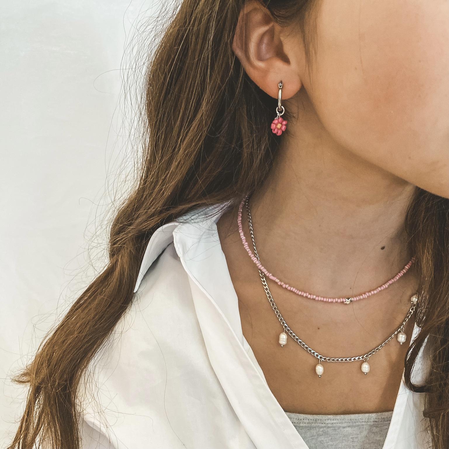 Fine jewelry: 5 pearl link silver