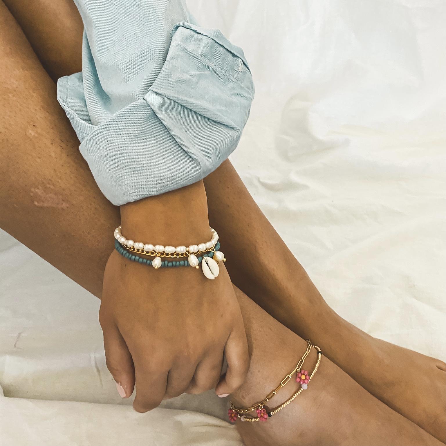Triple pink flower anklet gold