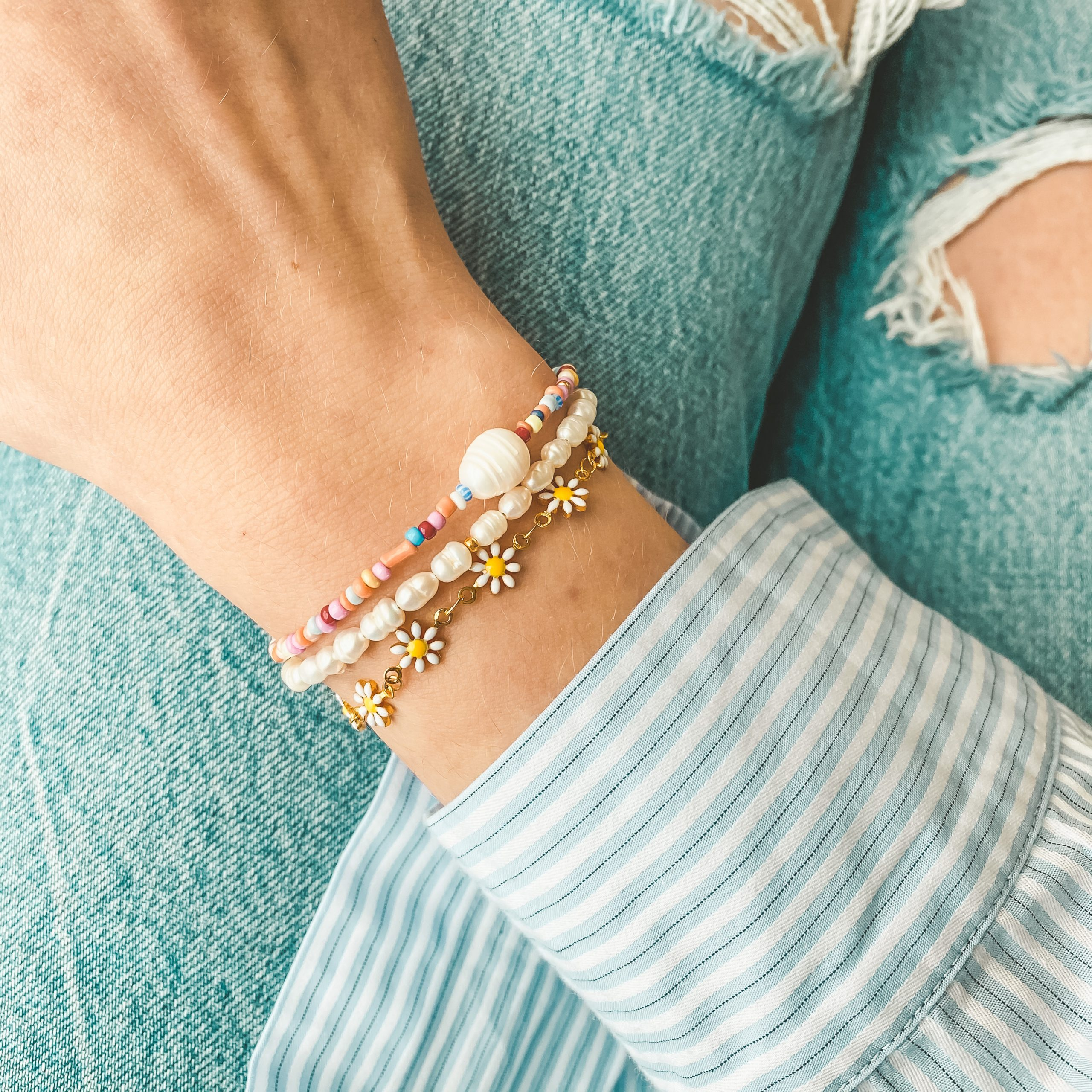 Multicolour pearl bracelet